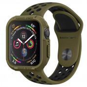 Spigen Rugged Armor Case - хибриден кейс с висока степен на защита за Apple Watch 44mm (тъмнозелен)