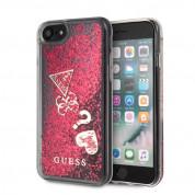 Guess Liquid Glitter Hearts Case - дизайнерски кейс с висока защита за iPhone SE (2020), iPhone 8, iPhone 7 (червен)