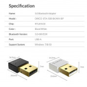 Orico USB Mini Bluetooth 5.0 Adapter - bluetooth 5.0 адаптер за компютри и лаптопи (черен) 5