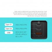 Baseus GaN 2 Pro Charger 65W (CCGAN2P-E02) - захранване за ел. мрежа за лаптопи, смартфони и таблети с USB и 2xUSB-C изходи с технология за бързо зареждане и USB-C кабел (бял) 6