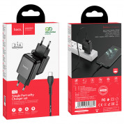 Hoco N2 Wall Charger and USB-C Cable - захранване за ел. мрежа 2.1A с USB изход и USB-C кабел (черен) 4