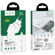Hoco N2 Wall Charger and Lightning Cable - захранване за ел. мрежа 2.1A с USB изход и Lightning кабел (бял) 4