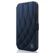 Mercedes-Benz Bow Line Booktype Leather Case - дизайнерски кожен калъф (естествена кожа), тип портфейл за iPhone 12 mini (тъмносин)