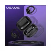 USAMS YI001 Ear Hook TWS Waterproof Earphones - безжични блутут слушалки със зареждащ кейс за мобилни устройства (черен) 4