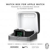 Sumato WatchBox Smart Charging Case 5000mAh - сертифициран луксозен кейс с преносима батерия за зареждане на Apple Watch и iPhone (сребрист) 2