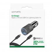 4smarts Car Charger Rapid+ 27W with Quick Charge with PD - зарядно за кола с USB и USB-C изходи с USB-C към Lightning кабел и технология за бързо зареждане (черен-тъмносив) 6
