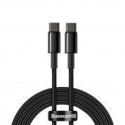 Baseus Tungsten Gold USB-C to USB-C Cable PD 2.0 100W (CATWJ-A01) - здрав кабел с въжена оплетка за бързо зареждане за устройства с USB-C порт (200 см) (черен)