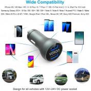 VOXON ECC02066GA01 30W PD Car Charger - 30W зарядно за кола с два USB изхода и технология за бързо зареждане (тъмносив) 6