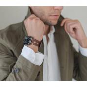 Meridio Norrebro Full Grain Leather Band - уникална ръчно изработена кожена (естествена кожа) каишка за Apple Watch 42мм, 44мм (тъмнокафяв) 3