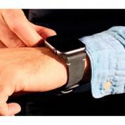 Meridio Touchstone Leather Band - уникална ръчно изработена кожена (естествена кожа) каишка за Apple Watch 42мм, 44мм (тъмносив) 3