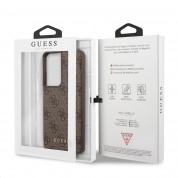 Guess 4G Charms Collection Hard Case - дизайнерски кожен кейс за Samsung Galaxy S21 Ultra (кафяв) 6