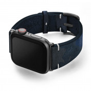 Meridio Blue Combact Leather Band - уникална ръчно изработена велурена каишка за Apple Watch 42мм, 44мм (тъмносин) 1