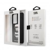 Karl Lagerfeld Saffiano Karl & Choupette Heads Case - дизайнерски кожен кейс за Samsung Galaxy S21 Ultra (черен)  5