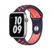 Apple Watch Nike Sport Band - оригинална силиконова каишка за Apple Watch 38мм, 40мм (син-оранжев)