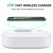 Mobile Phone Wireless Charging UV Sterilizing Box - поставка за безжично зареждане и UV стерилизатор за мобилни устройства (бял)  2