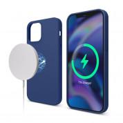 Elago MagSafe Soft Silicone Case - силиконов (TPU) калъф с вграден магнитен конектор (MagSafe) за iPhone 12, iPhone 12 Pro (тъмносин)