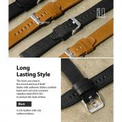 Ringke Leather One Classic Band 20 mm - кожена (естествена кожа) каишка за Galaxy Watch, Huawei Watch, Xiaomi, Garmin и други (20 мм) (черен) 4