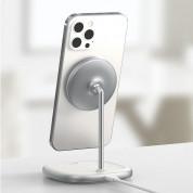 Baseus Magnetic Wireless Qi Charging Stand 15W (WXSW-01) - поставка (пад) за безжично зареждане за iPhone с Magsafe (бял) 14