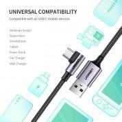 Ugreen USB-C Data Cable Right Angled 3A - кабел с въжена оплетка и бързо зареждане за устройства с USB-C порт (100 см) (черен) 5