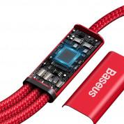 Baseus Rapid 3-in-1 USB Cable (CAMLT-SC09) - универсален USB-C кабел с Lightning, microUSB и USB-C конектори (150 см) (червен) 4