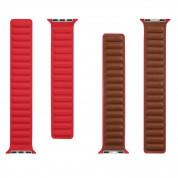 Tactical 729 Leather Loop Band - кожена каишка от естествена кожа за Apple Watch 38мм, 40мм (червен) 2