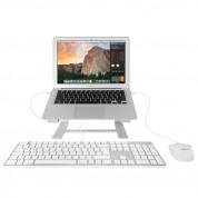 Macally Slim USB Keyboard 104 Key Full-Size UK - USB клавиатура оптимизирана за MacBook (бял)  2