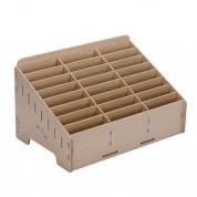 Multifunctional Chevy Board Mobile Phone Repair Wooden Tool Box - дървена кутия с 24 слота за организиране на смартофни и части (бял) 1