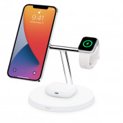 Belkin Boost Charge Pro 3-in-1 Wireless Charger with MagSafe 15W - тройна поставка (пад) за безжично зареждане за iPhone с Magsafe, Apple Watch и AirPods Pro (бял) 5