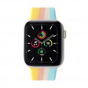 JC Design Silicone SoloLoop Band - силиконова каишка за Apple Watch 38мм, 40мм (розов-жълт) 2