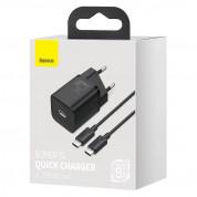 Baseus Super Si USB-C PD Wall Charger 25W (TZCCSUP-L01) - захранване за ел. мрежа с USB-C изход с технология за бързо зареждане и USB-C към USB-C кабел (черен) 13