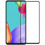 Premium Full Glue 5D Hard Tempered Glass - обхващащо и ръбовете стъклено защитно покритие за дисплея на Samsung Galaxy A52 (черен)