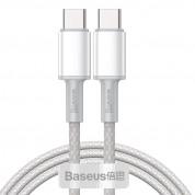 Baseus High Density Braided USB-C to USB-C Cable PD 2.0 100W (CATGD-02) - здрав кабел с въжена оплетка за бързо зареждане за устройства с USB-C порт (100 см) (бял)