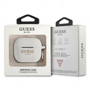 Guess AirPods 3 Silicone Glitter Case - силиконов калъф с карабинер за Apple Airpods 3 (бял) 2