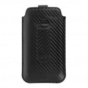 Vennus Carbon Pouch Size 14 - вертикален кожен калъф, тип джоб с лента за издърпване за iPhone 11, iPhone XS, iPhone X, Huawei P40, Galaxy A41, Galaxy S20 и други (черен) 2