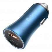 Baseus Golden Contactor Pro Quick Car Charger 40W (CCJD-03) - зарядно за кола с USB-A и USB-C изходи с технология за бързо зареждане (син) 5