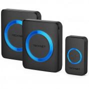 TeckNet HWD01888BU01 Plug-In Wireless Doorbell - комплект 2 броя иновативни безжични звънци и предавател за входна врата (черен)