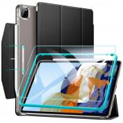 ESR Ascend Trifold Case And Tempered Glass - комплект полиуретанов калъф с поставка и стъклено покритие за iPad Pro 11 M1 (2021), iPad Pro 11 (2020), iPad Pro 11 (2018) (черен)