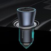 Baseus Golden Contactor Pro Quick Car Charger 40W (TZCCJD-A0G) - зарядно за кола с два USB изхода, технология за бързо зареждане и USB-A към USB-C кабел (тъмносив) 18
