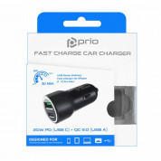 Prio Fast Charge Car Charger 20W PD (USB-C) + QC 3.0 (USB-A) - зарядно за кола с USB-A и USB-C изходи с технология за бързо зареждане (черен) 4