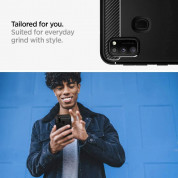 Spigen Rugged Armor Case - тънък качествен силиконов (TPU) калъф за Samsung Galaxy M21 (черен) 4