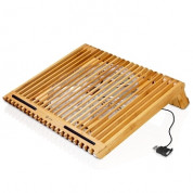 Macally EcoFanXL bamboo cooling stand with USB fan for Laptop computer 3