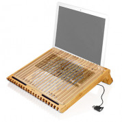 Macally EcoFanXL bamboo cooling stand with USB fan for Laptop computer