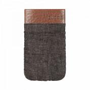 Bugatti Elements Twice Slim Case - кожен калъф (канвас и естествена кожа) за iPhone и мобилни телефони (сив) 1